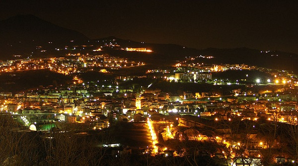 Teramo - Aerial View of the Historic Center in the night
