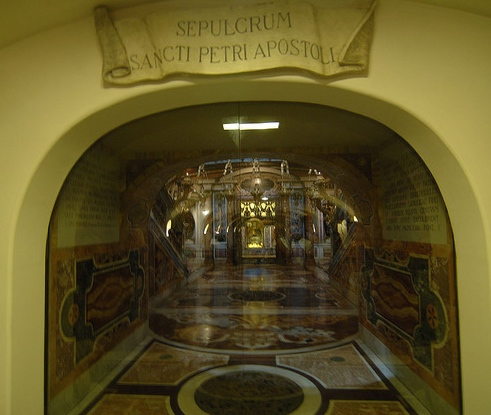 The tomb of Saint Peter, in the Grotte Vaticane