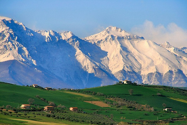 Hills in Teramo and Gran Sasso in the background