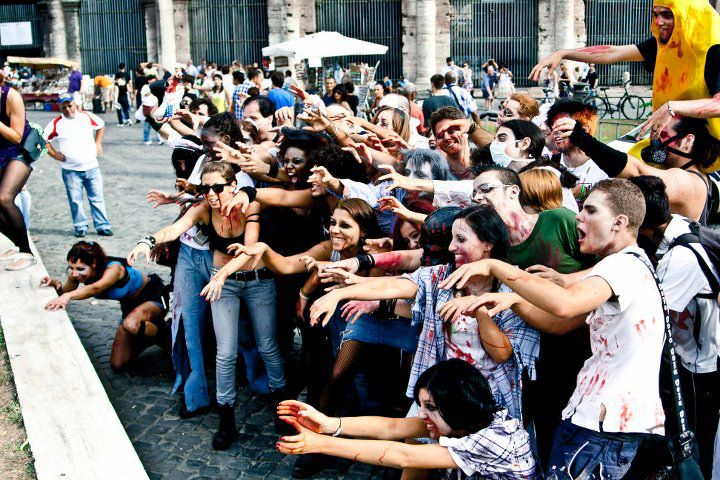 zombies in the streets of Rome