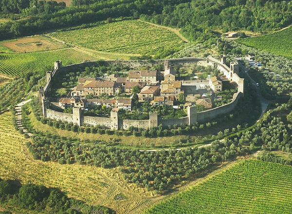 View from above of Monteriggioni, Tuscany