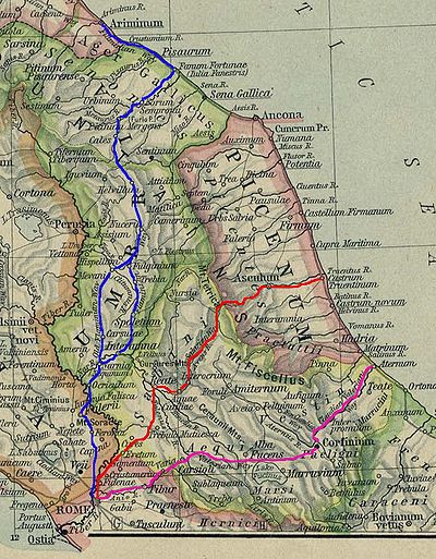 The Via Salaria, marked in red (wikimedia)