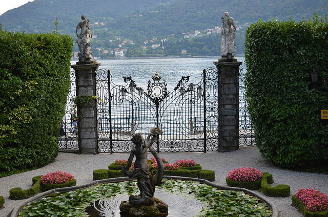 Beautiful view of Lake Como from Villa Carlotta, through its garden