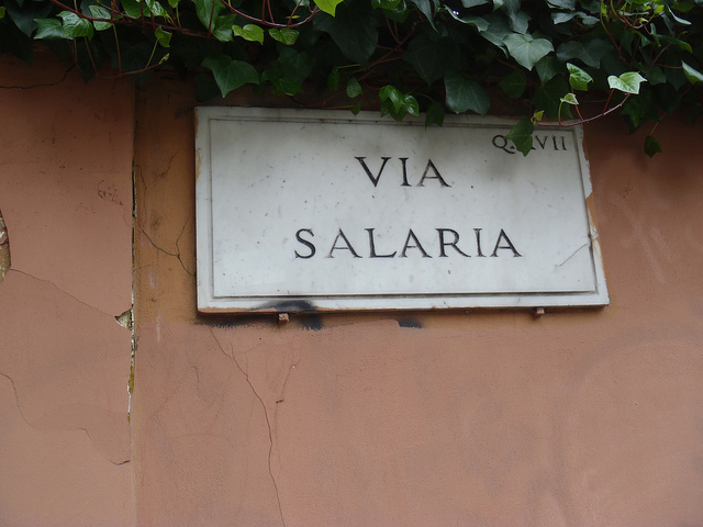 The Via Salaria starts in the city centre of Rome