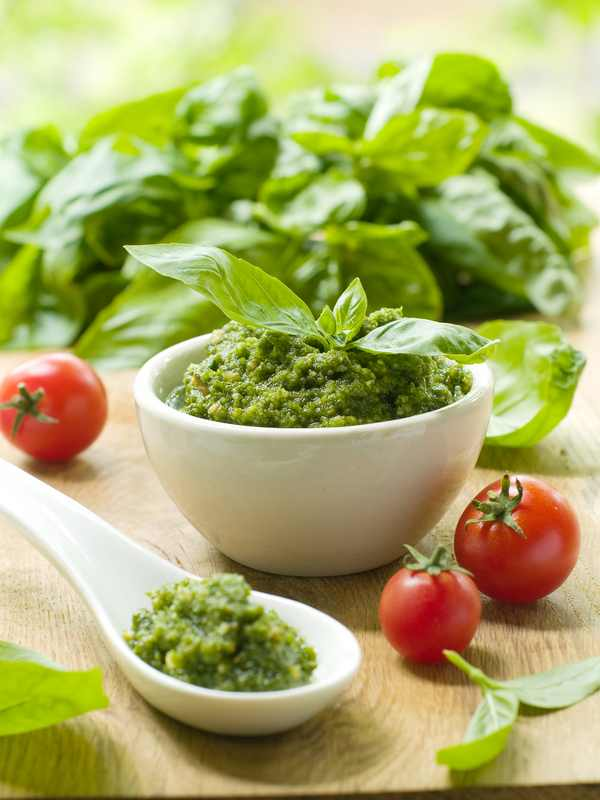 Italian Regional Food: Fresh pesto, made with pine-nuts, basil, olive oil and garlic