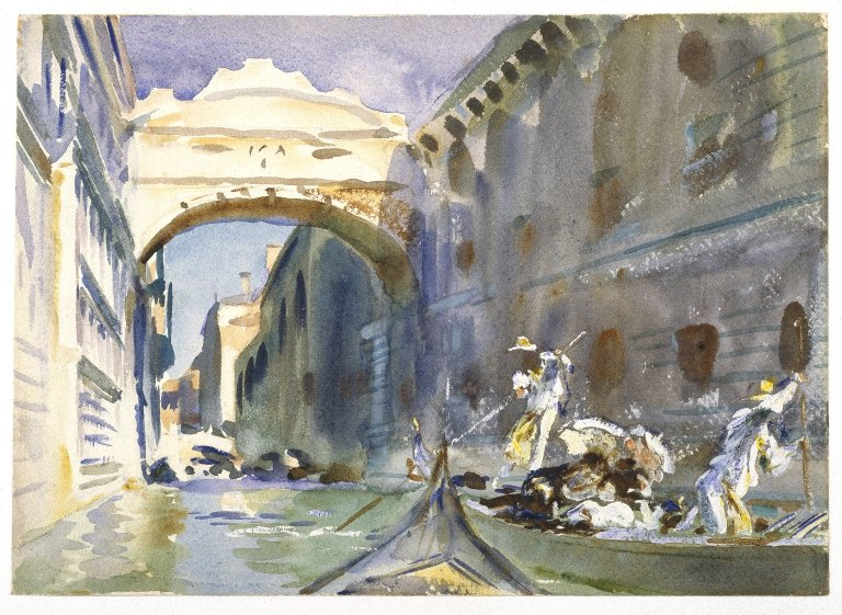 Il Ponte dei Sospiri, in a watercolor by J.Singer Sargent