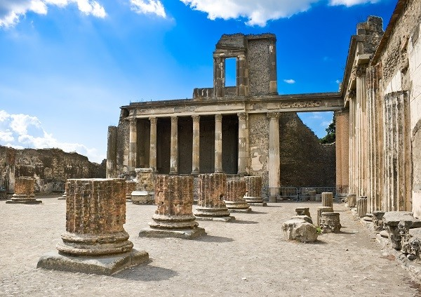 Archaeological area of Pompeii: roman ruins after the Vesuvius eruption
