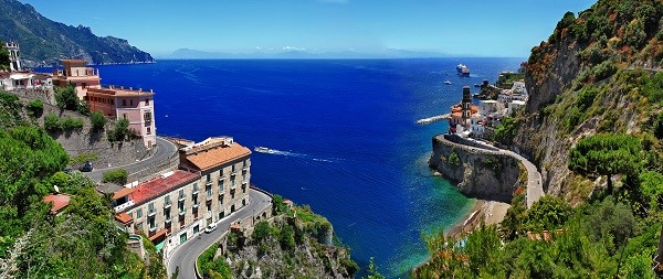 The scenic road along the Amalfi Coast, that is a Unesco World Heritage Site