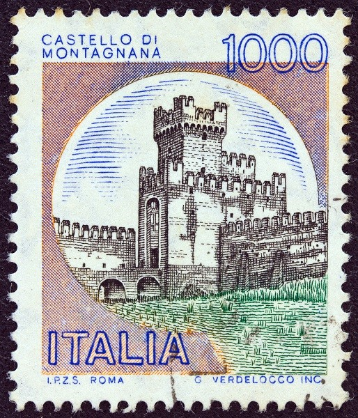 Montagnana Castle on a stamp dating 1980