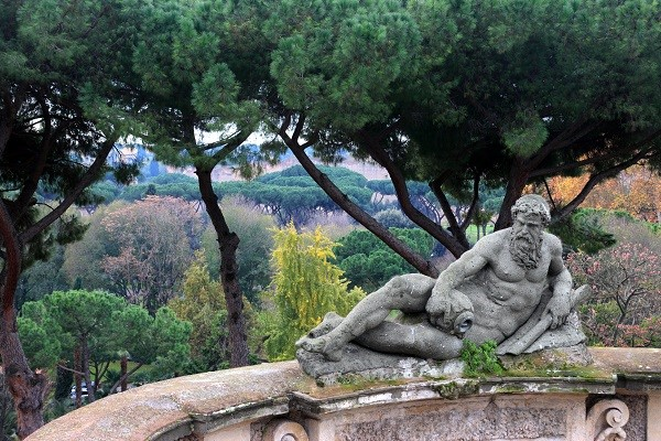 Statue and garden view from Villa Celimontana