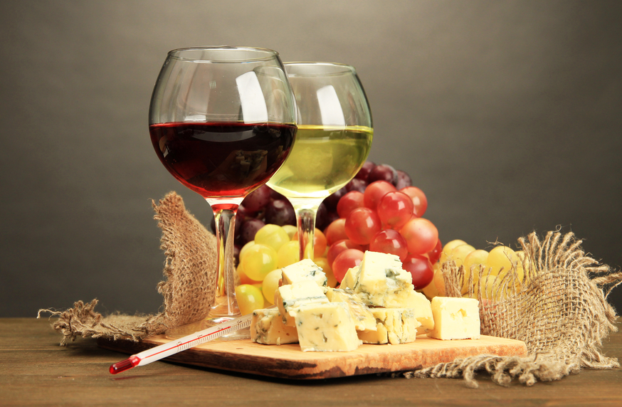 Wine, cheese and fruit.