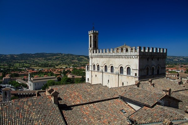 Palazzo dei Consoli towering over the town of Gubbio