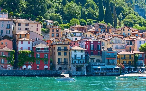 Italy viewed from the water: a village by Lake Como