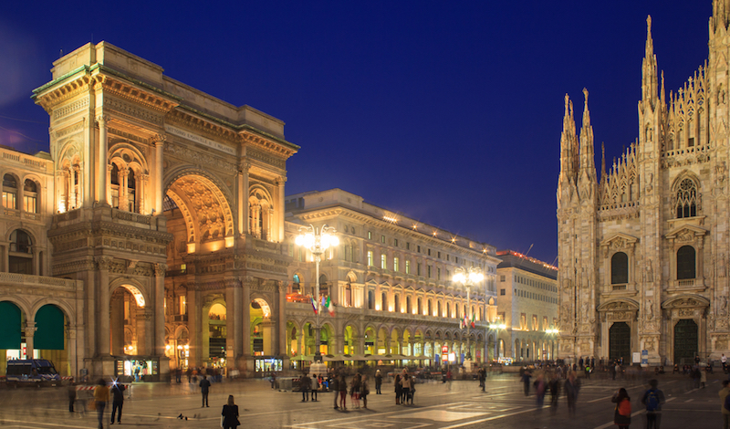 Piazza Duomo in Milan, with the Cathedral and Vittorio Emanuele Gallery.