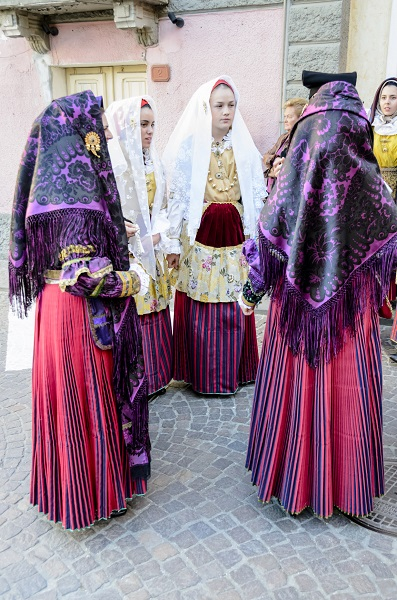 Traditional costumes of Sardinia. The photo was taken during the celebration of the Holy Efisio in Pula, Cagliari