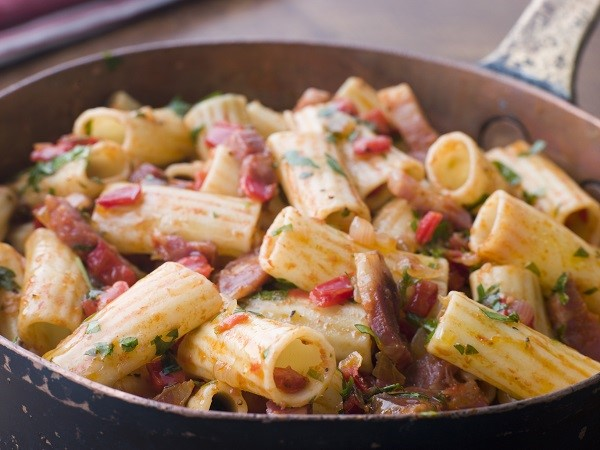 The Rigatoni are a furrowed pasta that goes well with chopped meat and tomato sauce