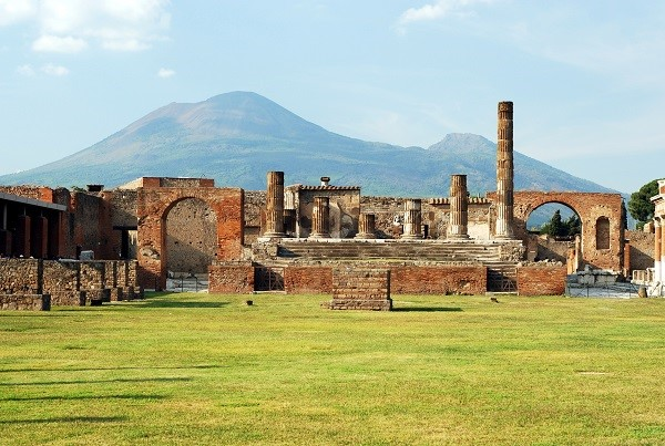 Archeological Area of Pompeii: Ruins and Vesuvius in the background