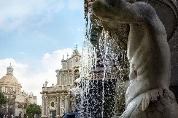 Fountain and Cathedral of Saint Agata in Catania