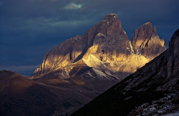 Sunrise in the Dolomites in a September morning