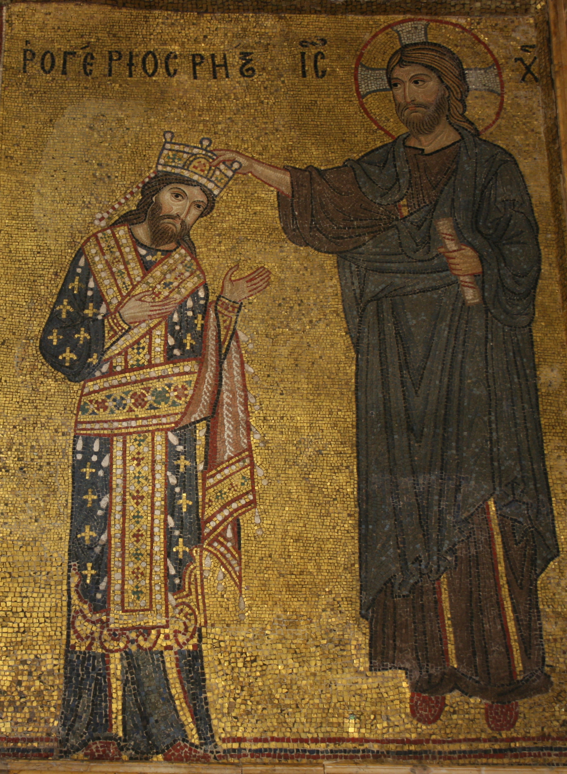 Roger II crowned king of Sicily by Jesus Christ in a mosaic in Palermo's church of Santa Maria dell'Ammiraglio