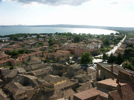 The lake of Bolsena from a hilltop with the city below