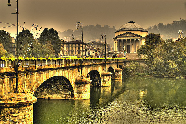 The river Po and La Gran Madre di Dio church, in Turin. The latter is considered a powerful esoteric spot