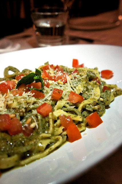 Pesto with pomodorini, a traditional way to enjoy the sauce
