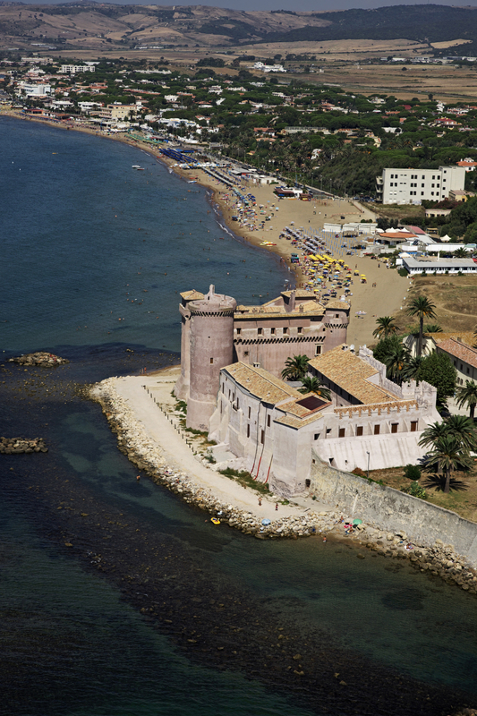 Ladispoli, aerial view of the Tyrrenian coast and the Palo-Odescalchi Castle (1500)