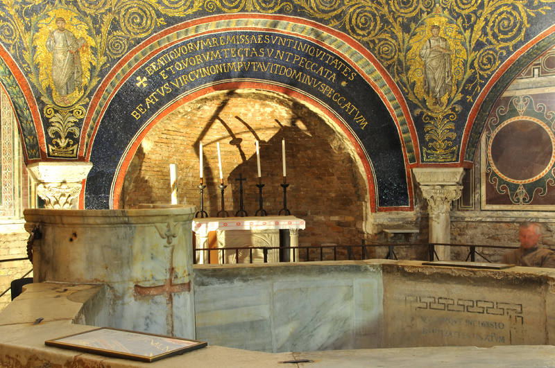 A 1,600-year-old ancient Roman baptismal font and altar with original mosaics and inscriptions
