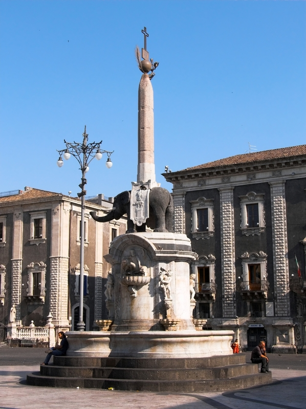 Famous Elephant Fountain in Catania. The elephant is the symbol of the town.