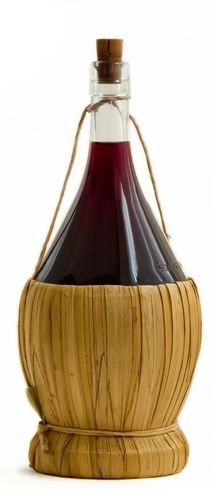 The traditional Chianti bottle