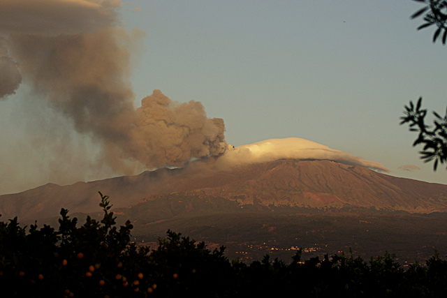 A view of Mount Etna, one of the most famous Italian volcanos in the world.