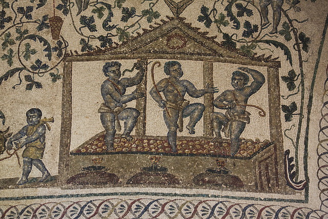 Wine making as shown on a ceiling mosaic at the Mausoleum of Santa Costanza, Rome.