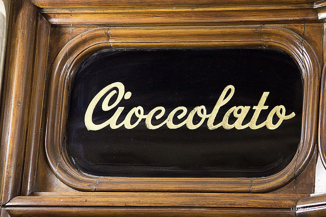 A chocolate sign