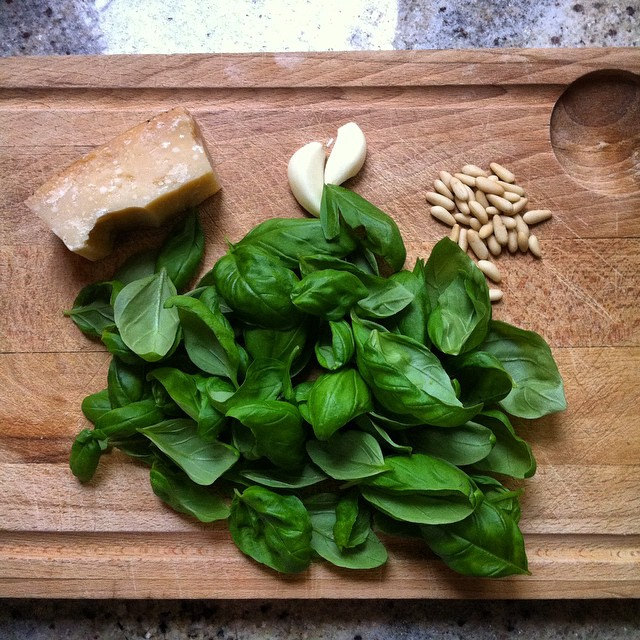 Pesto ingredients, minus extra virgin olive oil, of course!