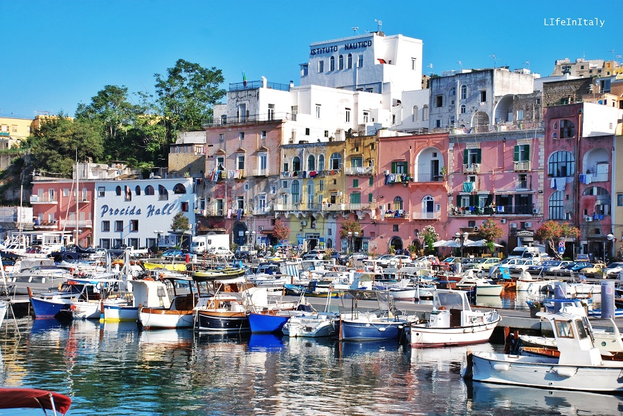 The colorful harbor in Procida, Gulf of Naples