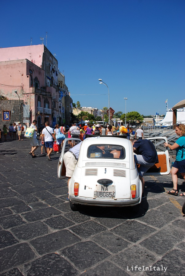 Streets in Procida are quite small, so it's better to squeeze in a Fiat 500