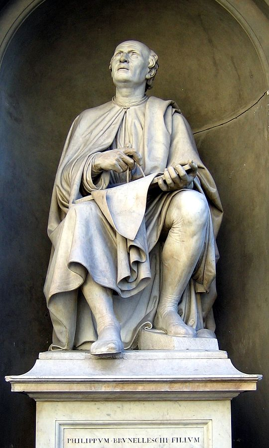 Filippo Brunelleschi, in a sculpture kept at Florence Duomo