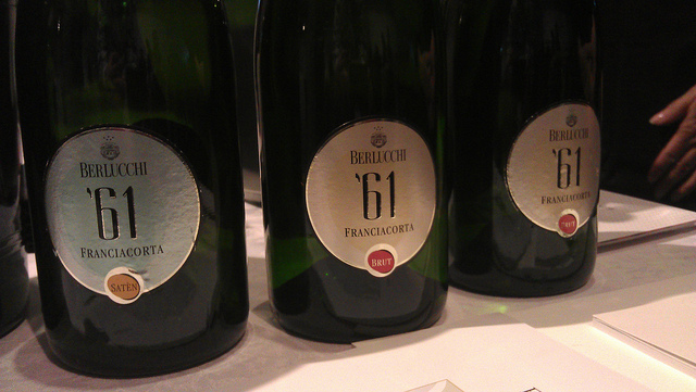 Bottles of Franciacorta, a sparkling wine from Italy