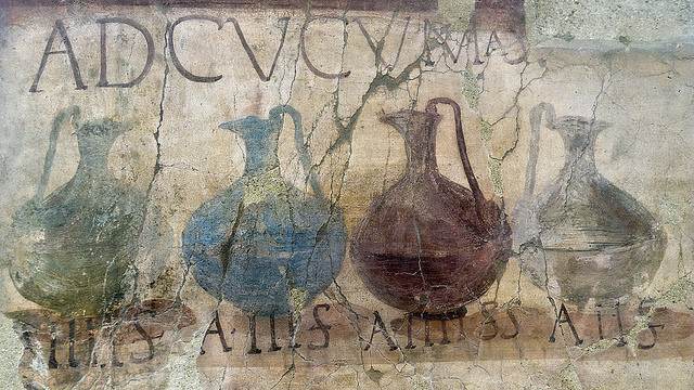 A Roman wine shop sign in Hercolaneum