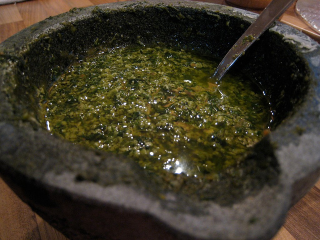 Genoese pesto, still in the stone mortar traditionally used to make it
