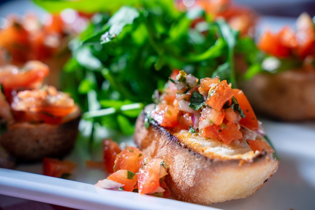italian food bruschetta with tomatoes and olive oil