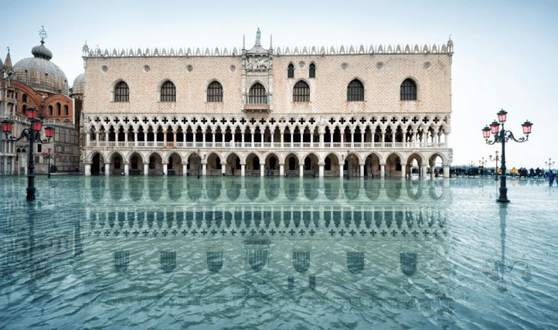 Venice sinking flood water