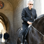 Andrea Bocelli on set for his documentary about the Via Francigena